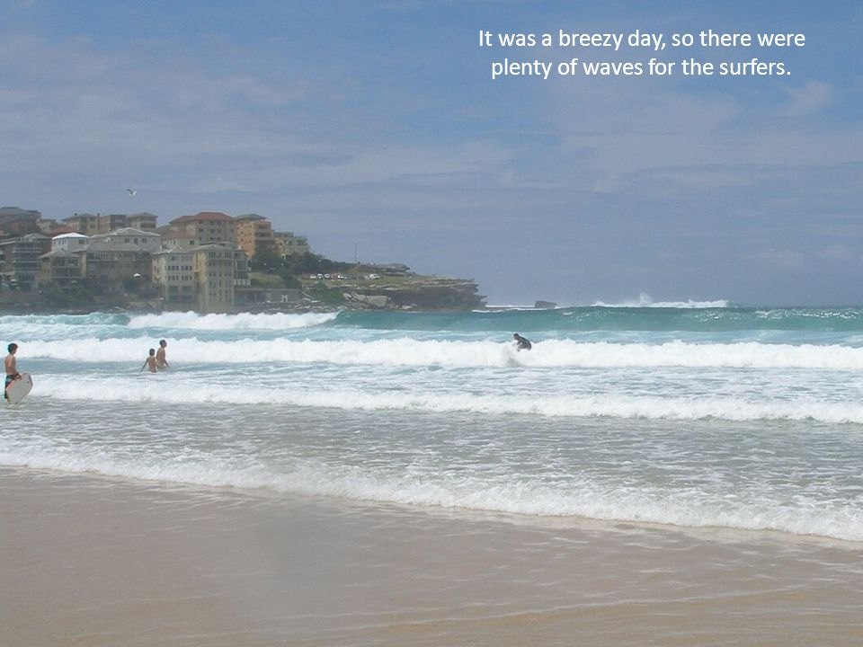 The waves would subside some, then come a little stronger, as more and more people tried their hand at surfing.