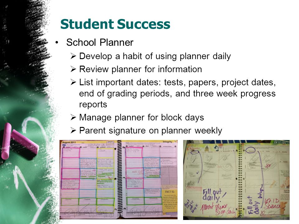 Student Success School Planner  Develop a habit of using planner daily  Review planner for information  List important dates: tests, papers, projec