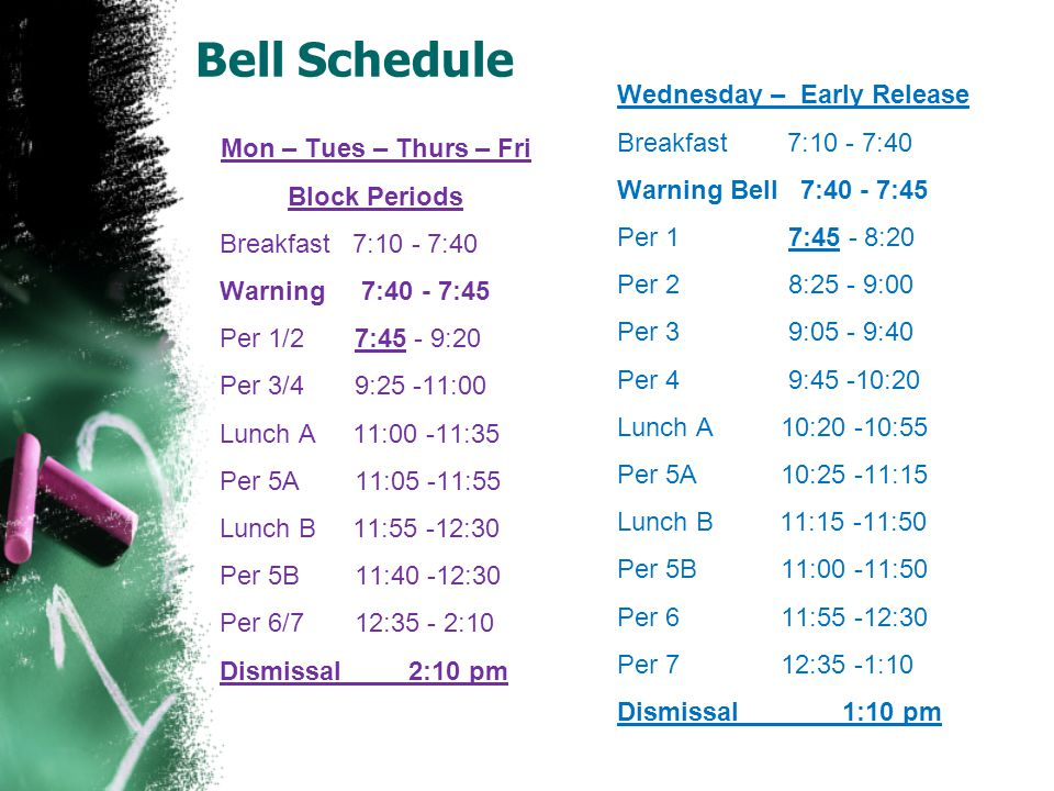 Bell Schedule Mon – Tues – Thurs – Fri Block Periods Breakfast 7:10 - 7:40 Warning 7:40 - 7:45 Per 1/2 7:45 - 9:20 Per 3/4 9:25 -11:00 Lunch A 11:00 -