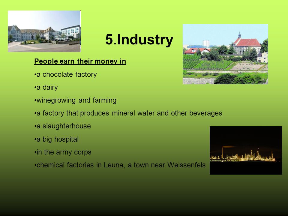5.Industry People earn their money in a chocolate factory a dairy winegrowing and farming a factory that produces mineral water and other beverages a slaughterhouse a big hospital in the army corps chemical factories in Leuna, a town near Weissenfels