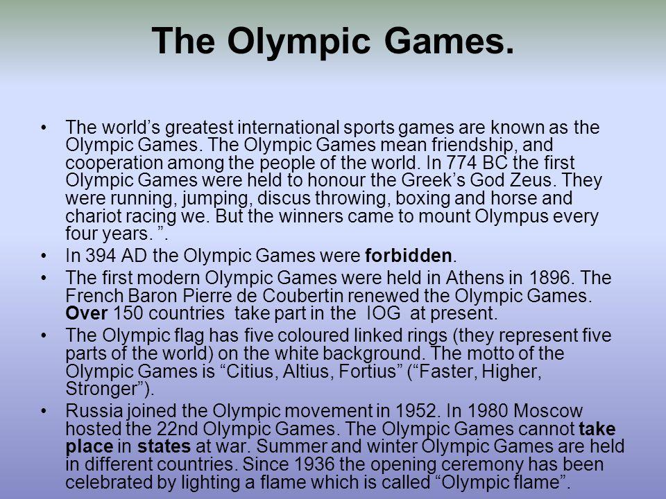 History of the Olympics start