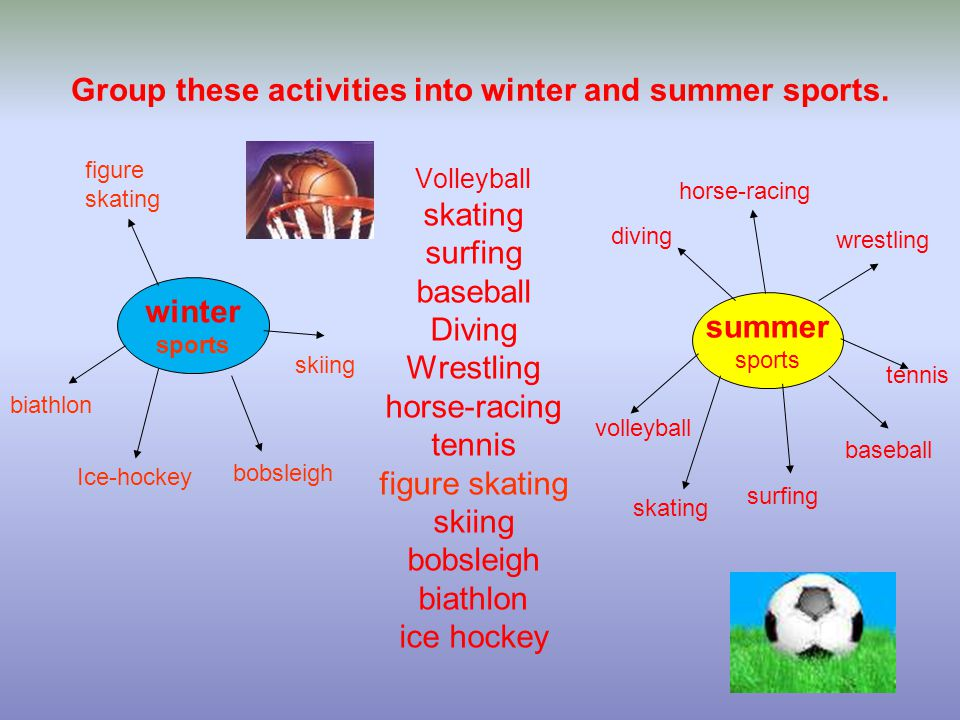 Group these activities into winter and summer sports.