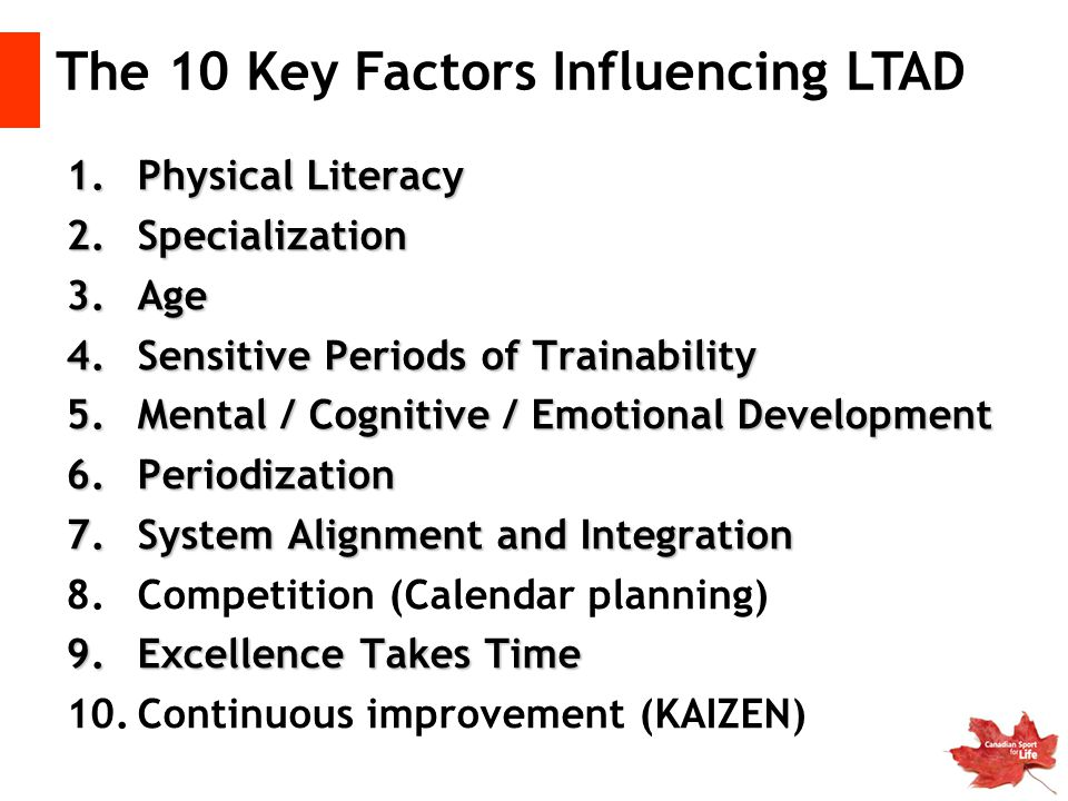 1.Physical Literacy 2.Specialization 3.Age 4.Sensitive Periods of Trainability 5.Mental / Cognitive / Emotional Development 6.Periodization 7.System A
