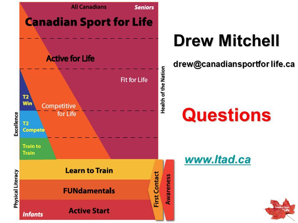 Questions www.ltad.ca Drew Mitchell drew@canadiansportfor life.ca