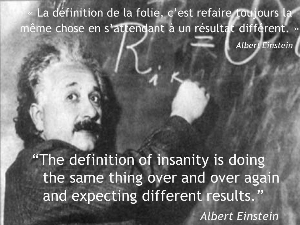 The definition of insanity is doing the same thing over and over again and expecting different results. Albert Einstein « La définition de la folie, c'est refaire toujours la même chose en s'attendant à un résultat différent.
