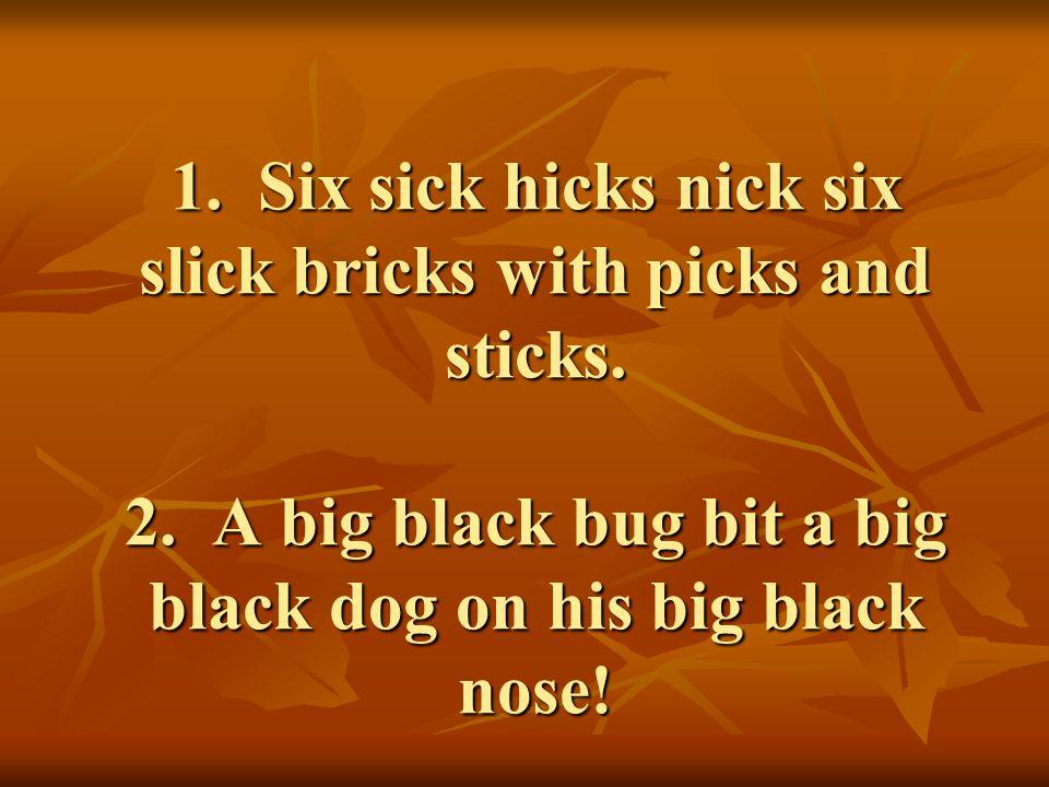 1. Six sick hicks nick six slick bricks with picks and sticks.