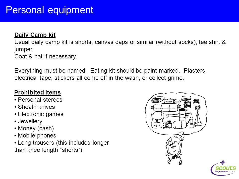 Daily Camp kit Usual daily camp kit is shorts, canvas daps or similar (without socks), tee shirt & jumper.