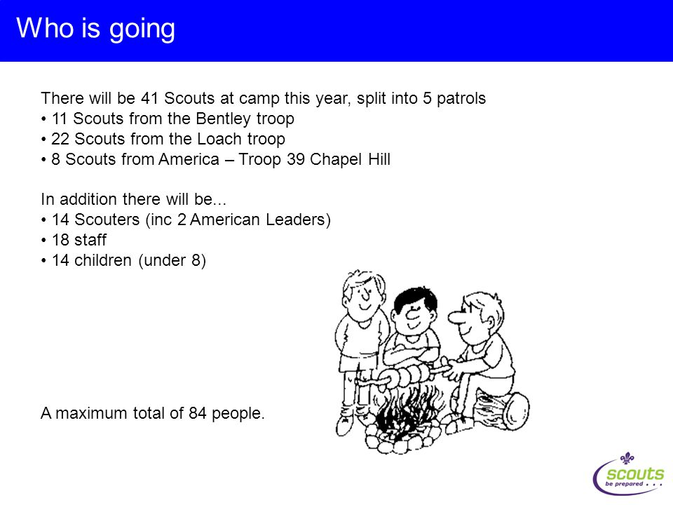 There will be 41 Scouts at camp this year, split into 5 patrols 11 Scouts from the Bentley troop 22 Scouts from the Loach troop 8 Scouts from America – Troop 39 Chapel Hill In addition there will be...