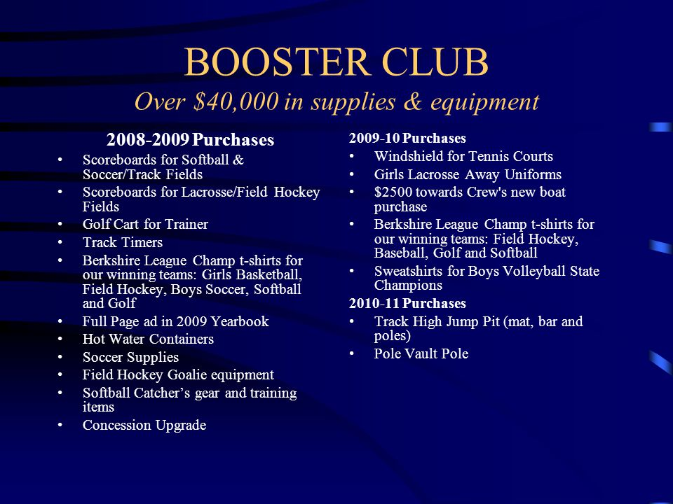 BOOSTER CLUB Over $40,000 in supplies & equipment 2008-2009 Purchases Scoreboards for Softball & Soccer/Track Fields Scoreboards for Lacrosse/Field Hockey Fields Golf Cart for Trainer Track Timers Berkshire League Champ t-shirts for our winning teams: Girls Basketball, Field Hockey, Boys Soccer, Softball and Golf Full Page ad in 2009 Yearbook Hot Water Containers Soccer Supplies Field Hockey Goalie equipment Softball Catcher's gear and training items Concession Upgrade 2009-10 Purchases Windshield for Tennis Courts Girls Lacrosse Away Uniforms $2500 towards Crew s new boat purchase Berkshire League Champ t-shirts for our winning teams: Field Hockey, Baseball, Golf and Softball Sweatshirts for Boys Volleyball State Champions 2010-11 Purchases Track High Jump Pit (mat, bar and poles) Pole Vault Pole