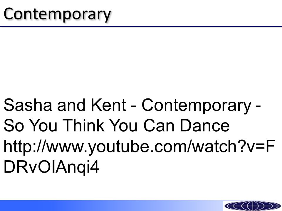 ContemporaryContemporary Sasha and Kent - Contemporary - So You Think You Can Dance http://www.youtube.com/watch?v=F DRvOIAnqi4