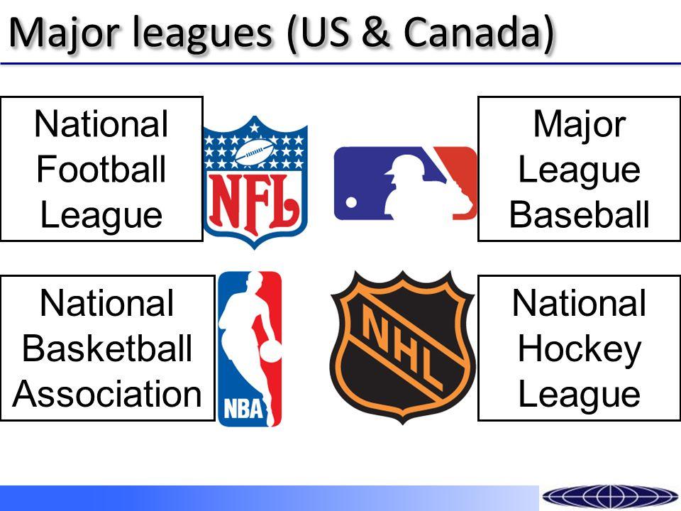 Major leagues (US & Canada) National Football League National Basketball Association Major League Baseball National Hockey League