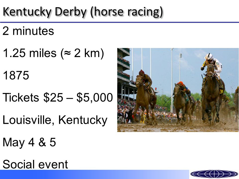 Kentucky Derby (horse racing) 2 minutes 1.25 miles (≈ 2 km) 1875 Tickets $25 – $5,000 Louisville, Kentucky May 4 & 5 Social event
