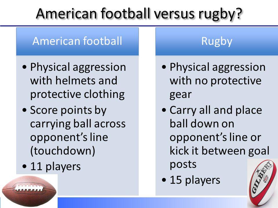 American football vs rugby American football versus rugby http://www.youtube.com/watch?v=n C_sCkDOE4Q