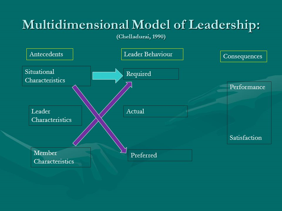 Multidimensional Model of Leadership: (Chelladurai, 1990) Situational Characteristics Leader Characteristics Member Characteristics Required Actual Preferred Performance Satisfaction AntecedentsLeader Behaviour Consequences