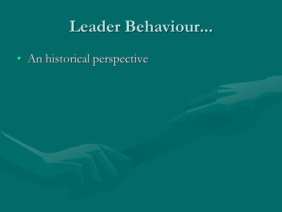 Leader Behaviour... An historical perspectiveAn historical perspective