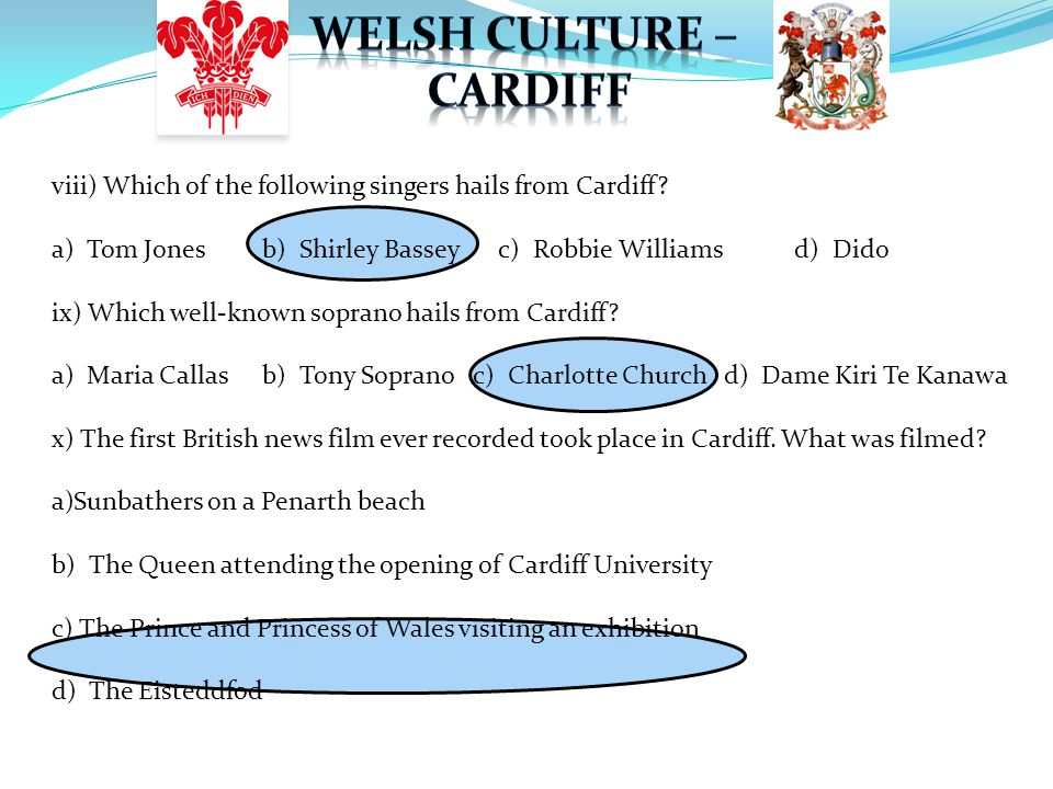 viii) Which of the following singers hails from Cardiff.