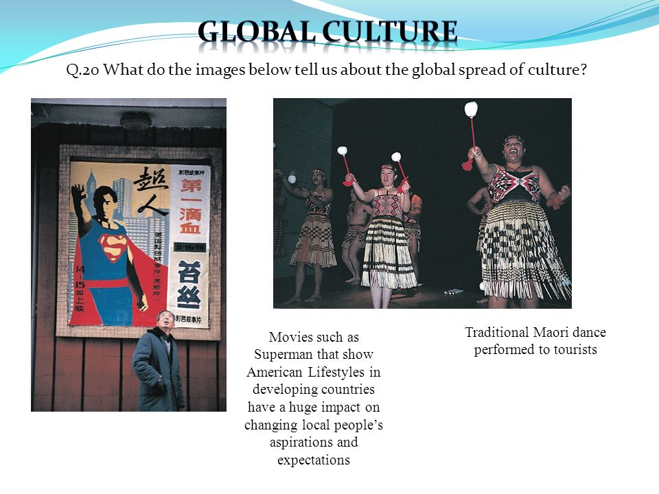 Q.20 What do the images below tell us about the global spread of culture.