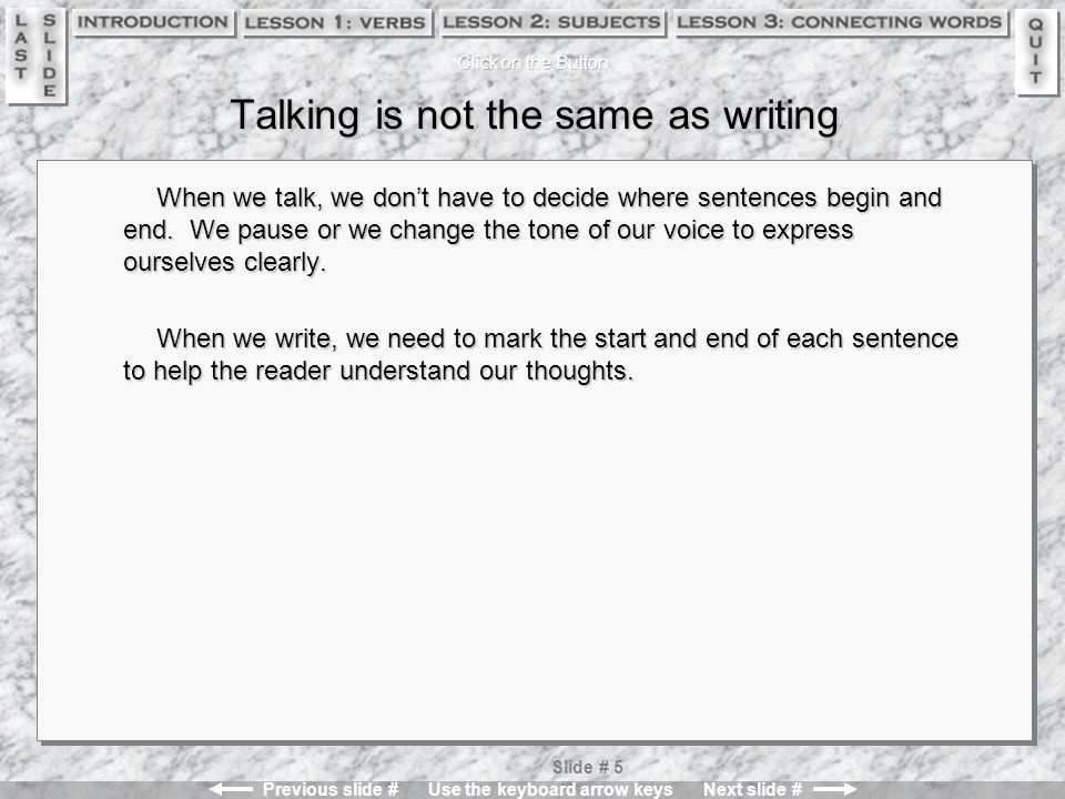 Previous slide # Use the keyboard arrow keys Next slide # Slide # 15 Test Yourself Is the following word group a single correct sentence.