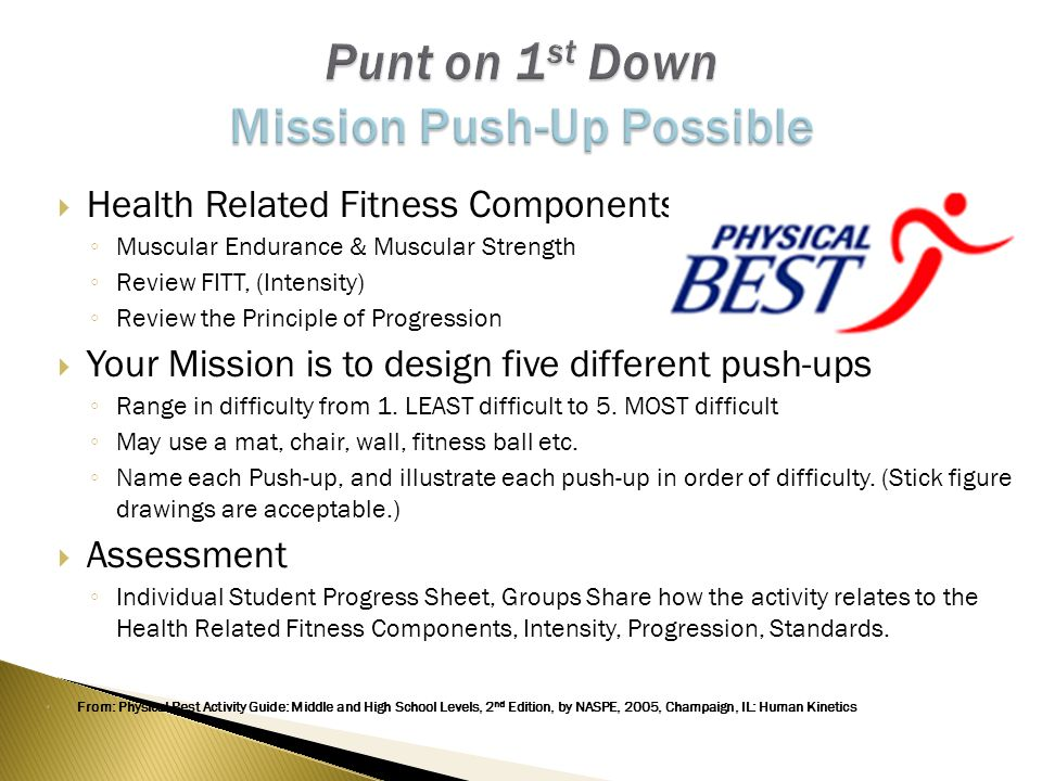  Health Related Fitness Components ◦ Muscular Endurance & Muscular Strength ◦ Review FITT, (Intensity) ◦ Review the Principle of Progression  Your Mission is to design five different push-ups ◦ Range in difficulty from 1.