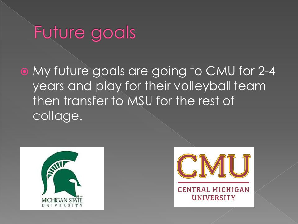  My future goals are going to CMU for 2-4 years and play for their volleyball team then transfer to MSU for the rest of collage.