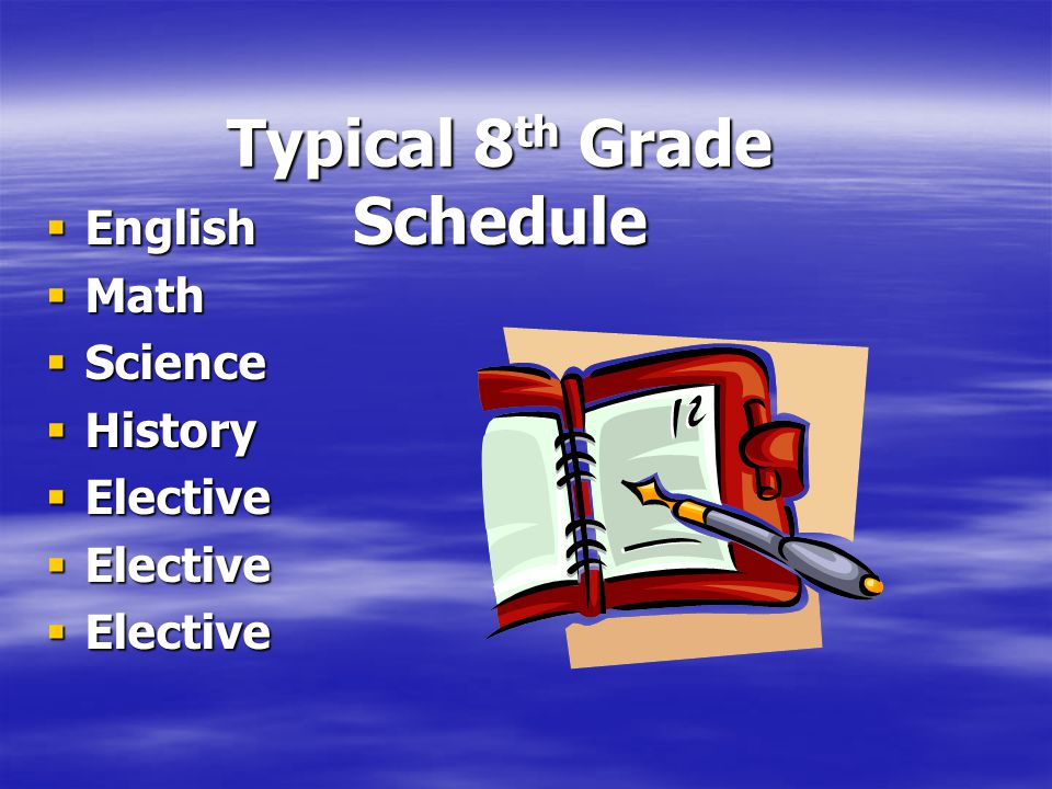 Typical 8 th Grade Schedule  English  Math  Science  History  Elective