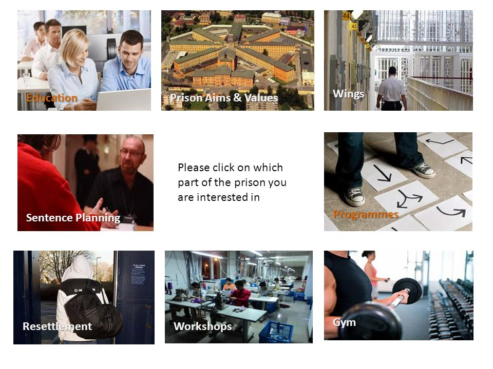 Please click on which part of the prison you are interested in Resettlement Education Sentence Planning Prison Aims & Values Wings Programmes Workshops Gym