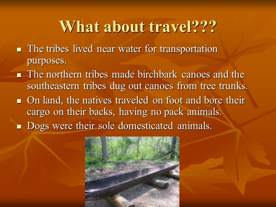 What about travel . The tribes lived near water for transportation purposes.