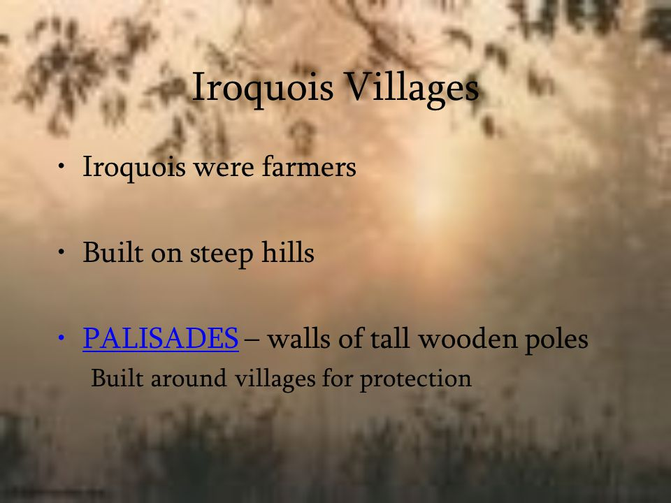 Iroquois Shelters Longhouses – long wooden building that could hold up to 50 people Poles made from small trees, bent then covered with bark Divided into sections Held one to two families american-native-art.com