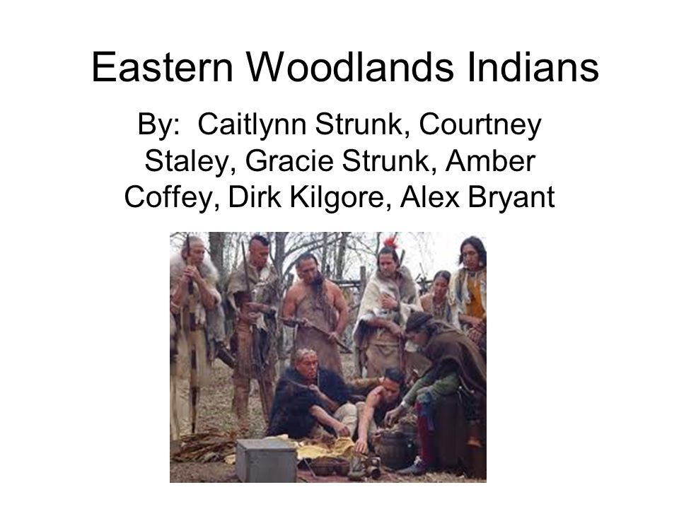 Eastern Woodlands Indians By: Caitlynn Strunk, Courtney Staley, Gracie Strunk, Amber Coffey, Dirk Kilgore, Alex Bryant