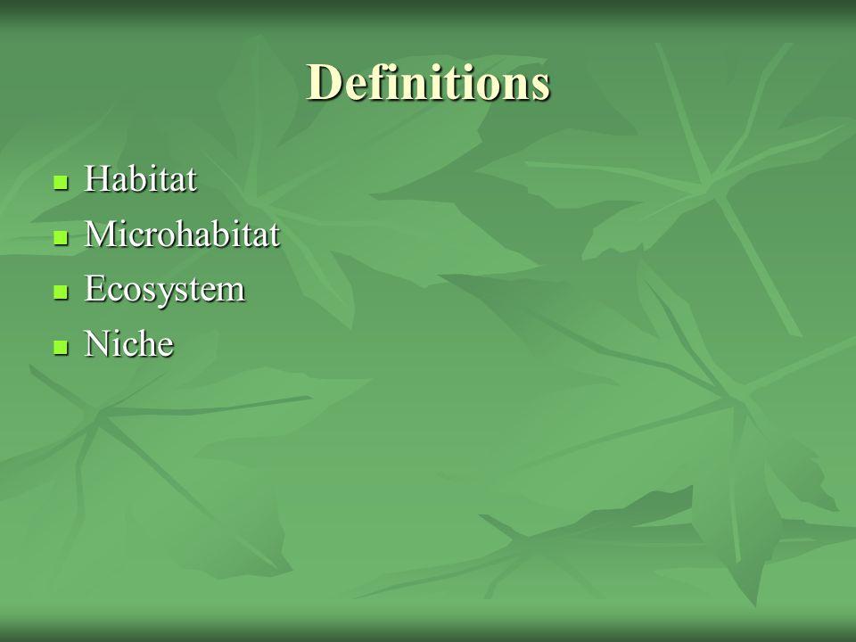 Definitions Habitat Habitat Microhabitat Microhabitat Ecosystem Ecosystem Niche Niche
