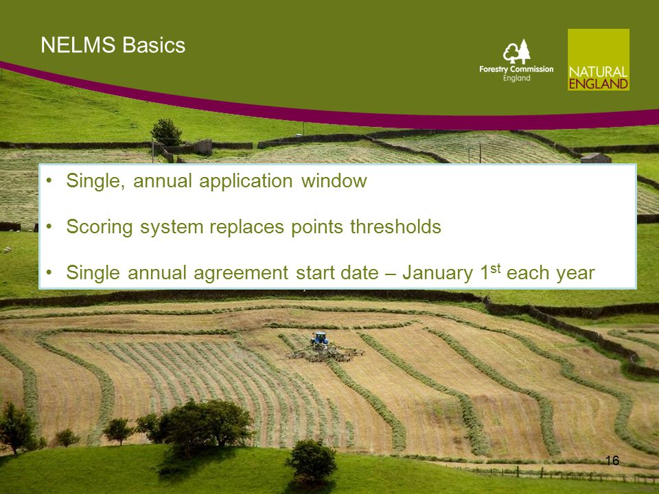 NELMS Basics 16 Single, annual application window Scoring system replaces points thresholds Single annual agreement start date – January 1 st each year