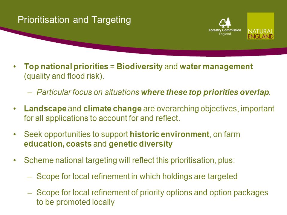 Prioritisation and Targeting Top national priorities = Biodiversity and water management (quality and flood risk).