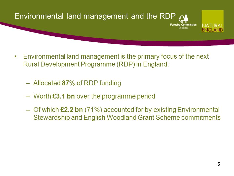Environmental land management and the RDP Environmental land management is the primary focus of the next Rural Development Programme (RDP) in England: –Allocated 87% of RDP funding –Worth £3.1 bn over the programme period –Of which £2.2 bn (71%) accounted for by existing Environmental Stewardship and English Woodland Grant Scheme commitments 5