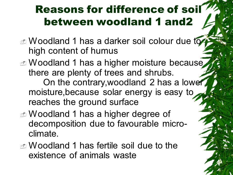 Reasons for difference of soil between woodland 1 and2  Woodland 1 has a darker soil colour due to high content of humus  Woodland 1 has a higher moisture because there are plenty of trees and shrubs.
