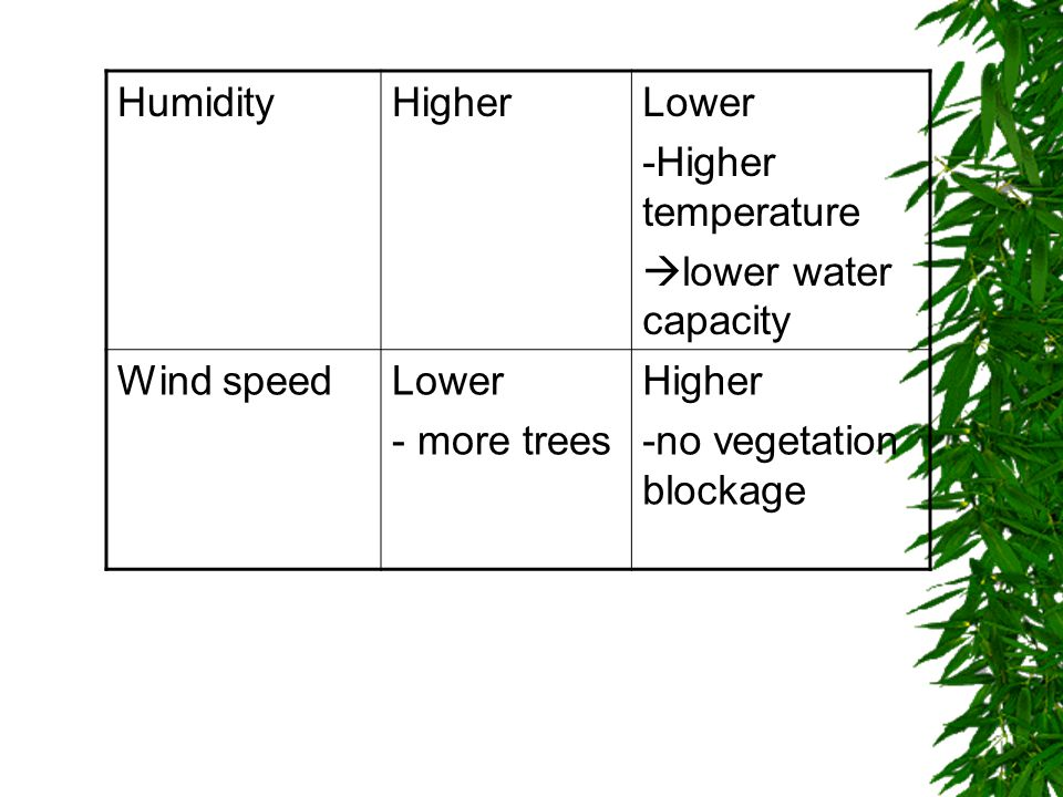 HumidityHigherLower -Higher temperature  lower water capacity Wind speedLower - more trees Higher -no vegetation blockage