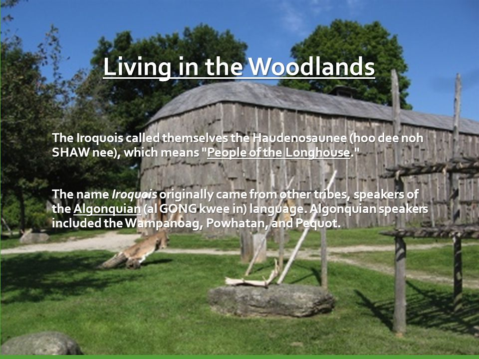 Living in the Woodlands The Iroquois called themselves the Haudenosaunee (hoo dee noh SHAW nee), which means