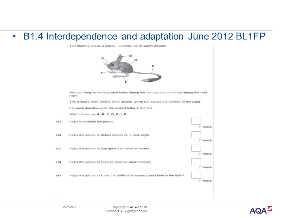 Version 2.0 Copyright © AQA and its licensors. All rights reserved. B1.4 Interdependence and adaptation June 2012 BL1FP
