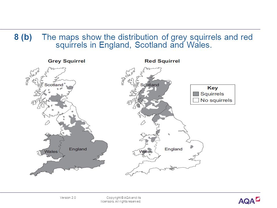 Version 2.0 Copyright © AQA and its licensors. All rights reserved. 8 (b) The maps show the distribution of grey squirrels and red squirrels in Englan