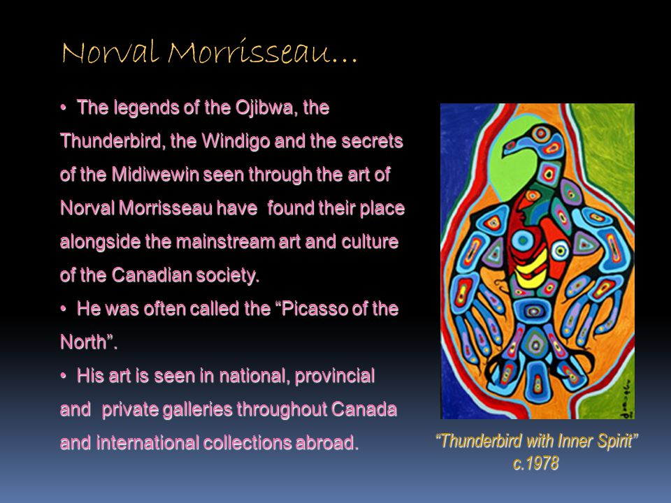 """Norval Morrisseau… """"Thunderbird with Inner Spirit"""" c.1978 The legends of the Ojibwa, the Thunderbird, the Windigo and the secrets of the Midiwewin see"""