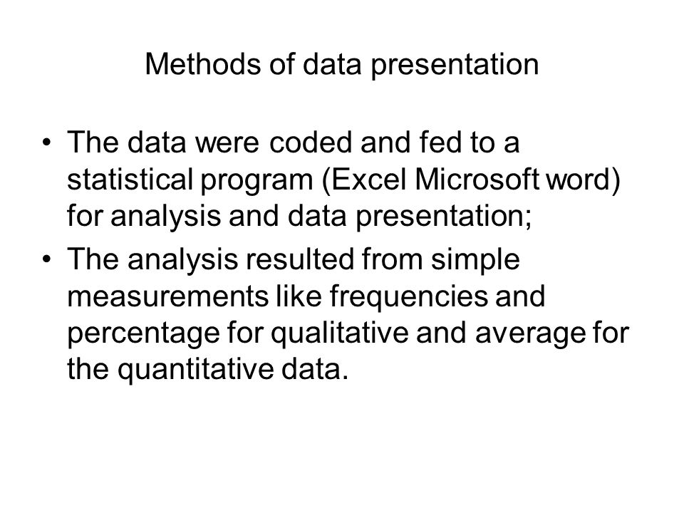 Methods of data presentation The data were coded and fed to a statistical program (Excel Microsoft word) for analysis and data presentation; The analy
