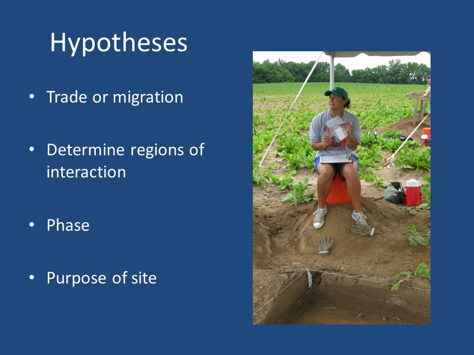 Hypotheses Trade or migration Determine regions of interaction Phase Purpose of site