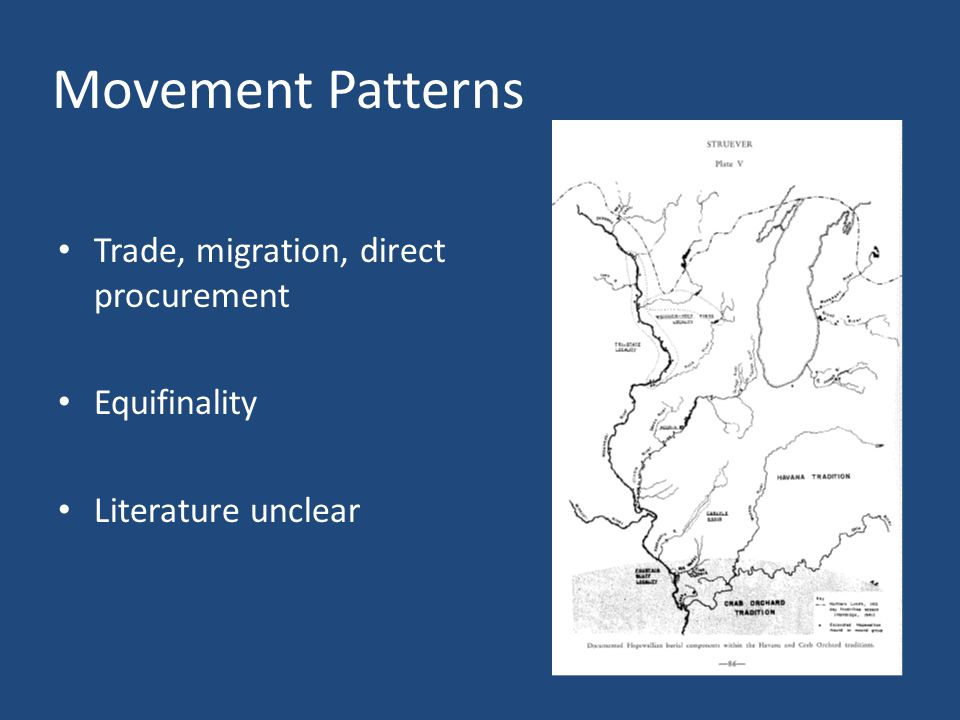 Movement Patterns Trade, migration, direct procurement Equifinality Literature unclear