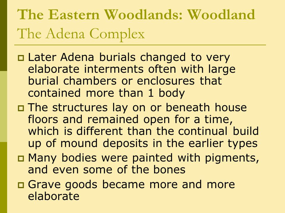 The Eastern Woodlands: Woodland The Adena Complex  Later Adena burials changed to very elaborate interments often with large burial chambers or enclosures that contained more than 1 body  The structures lay on or beneath house floors and remained open for a time, which is different than the continual build up of mound deposits in the earlier types  Many bodies were painted with pigments, and even some of the bones  Grave goods became more and more elaborate