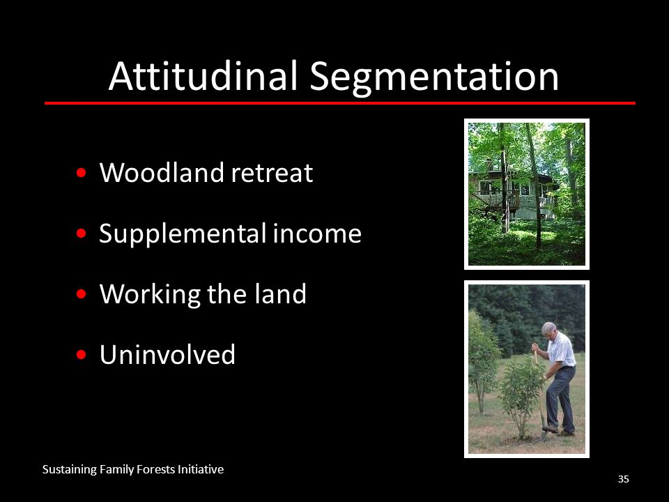 35 Attitudinal Segmentation Woodland retreat Supplemental income Working the land Uninvolved Sustaining Family Forests Initiative