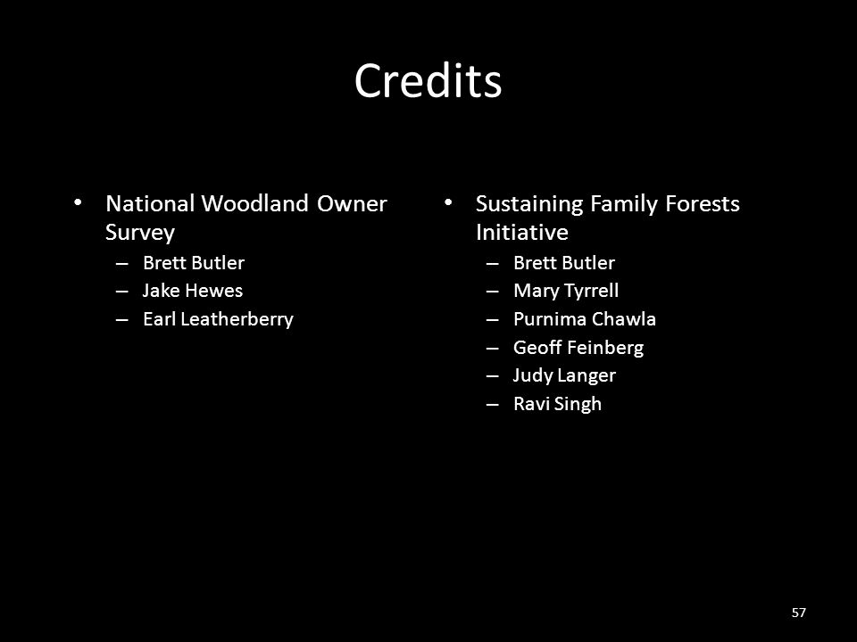 57 Credits National Woodland Owner Survey – Brett Butler – Jake Hewes – Earl Leatherberry Sustaining Family Forests Initiative – Brett Butler – Mary Tyrrell – Purnima Chawla – Geoff Feinberg – Judy Langer – Ravi Singh