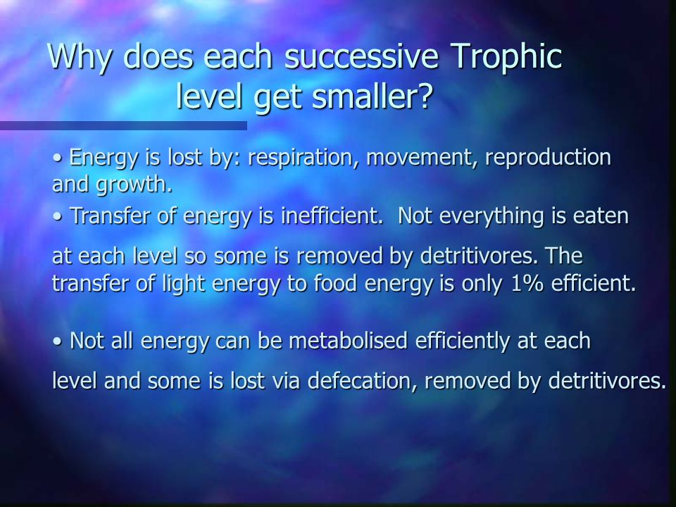 Trophic Pyramids Primary producer (Plants) Primary consumer (Herbivore) Secondaryconsumer(Carnivore) Total biomass Loss of energy Loss of biomass Trop