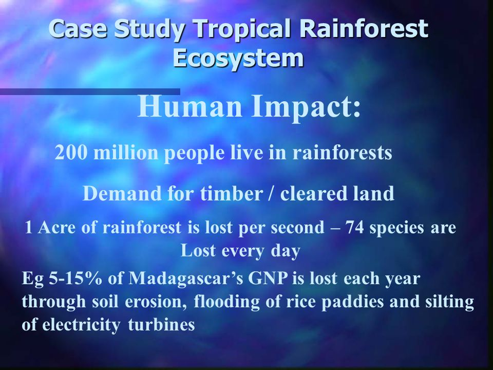 Human Impact: Rainforest Ecosystem after deforestation Trees Trees removed and logged Ash Increased Increased leaching Crop Increased Increased runoff Harvest The removal of trees decreases interception and increases runoff Depletion of nutrients in soil Litter Biomass Precipitation
