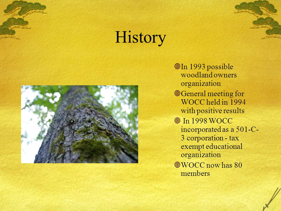 History  In 1993 possible woodland owners organization  General meeting for WOCC held in 1994 with positive results