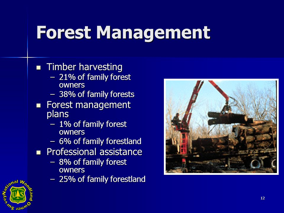 12 Forest Management Timber harvesting Timber harvesting –21% of family forest owners –38% of family forests Forest management plans Forest management plans –1% of family forest owners –6% of family forestland Professional assistance Professional assistance –8% of family forest owners –25% of family forestland