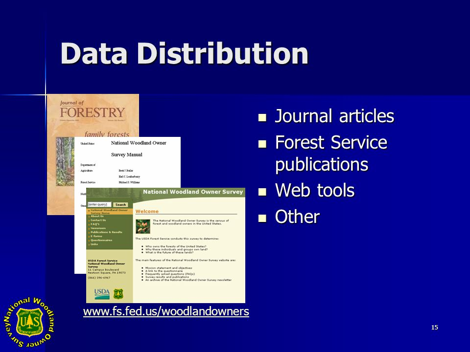 15 Data Distribution Journal articles Journal articles Forest Service publications Forest Service publications Web tools Web tools Other Other www.fs.fed.us/woodlandowners